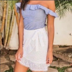 Pink lily boutique white eyelet skirt